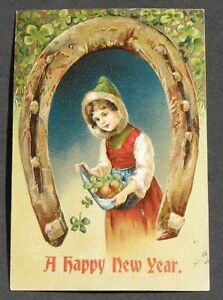 PFB Girl Fur Trimmed Hat Carries Clover in Apron Under Giant Horseshoe New Year