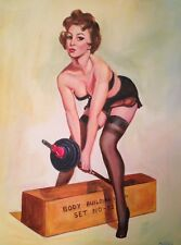 "DAVID ALDUS ORIGINAL OIL ""Gym Girl"" Nude woman boby builder lady erotic PAINTING"