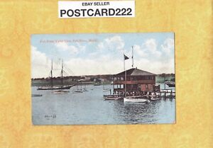 MA Fall River 1910 antique postcard YACHT CLUB & SAILBOATS to Taunton Chace
