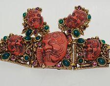 Selro NOH Mask Devil Rhinestone Bracelet Earring Set Pristine Gorgeous