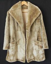 Vtg Faux Fur Coat/Duster Open Style Tan/Brown Size M/L