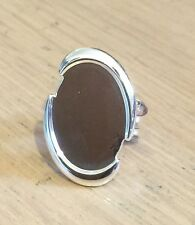 Plaqué argent ovale chunky cut out blank ring setting bezel, cabochon 18mm x 25mm