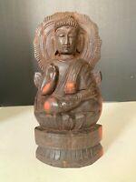 Vintage Hand Carved Wood Buddha Seated On Lotus Flower