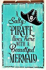 SALTY PIRATE MERMAID SIGN Wall Hanger Plaque Beach Bath Tiki Bar Hot Tub Deck