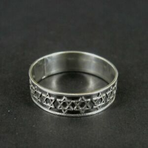 Ring Silver Stars around Band Mexico Sterling 925 Band Ring Size 7