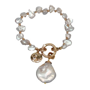 Cultured White Keshi Pearl Bracelet Coin Pearl Charm Cubic Zirconia Pave Clasp