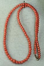 VICTORIAN ANTIQUE 14K GOLD 18 INCH CORAL BEADS NECKLACE