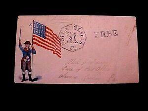 Civil War Patriotic POSTAL COVER ENVELOPE w/Flag Marked FREE Philadelphia 1862