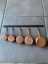 More details for set of 5 vintage french villedieu copper measuring saucepans