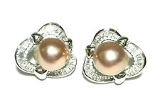 10.5mm Mirror Luster Edison Purple Rose Round Pearl French Omega Back Earrings