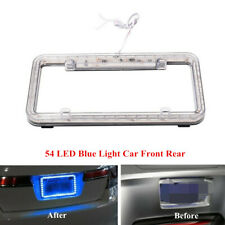 54-LED Blue Light Car Front Rear Vehicle Plastic Lighting License Plate Frame