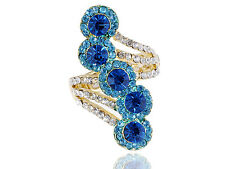 Women Gold Wing Tidal Wave Blue Whiet Crystal Rhinestone Flower Adjustable Ring