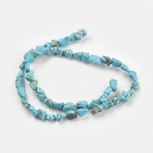1 Strand Natural Turquoise Dyed Chip Beads 6-18mm 45 Pieces