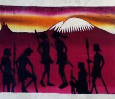 ORIGINAL BATIK ART on cotton AFRICAN TRIBAL MT KILIMANJARO LARGE 24x18 UNFRAMED