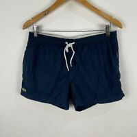 Lacoste Mens Board Shorts Medium Blue Elastic Waist Drawstring Pockets