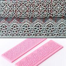 2X Silicone Fondant Cake Lace Sugar Craft DIY Mat Texture Flower Decor Mold Set