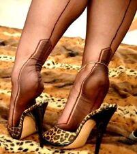 NEW GIO Manhattan Heel Chocolate FF Fully Fashioned Seamed Stockings 11 XL