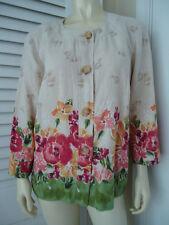 JM COLLECTION Shirt Top 12 Natural Linen Floral Print Button Front Shoulder Pad