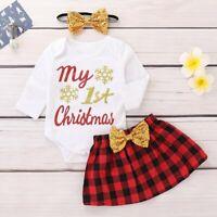 3pcs Newborn Infant Baby Girls Bodysuit Romper Tops Skirt Dress Outfits Clothes