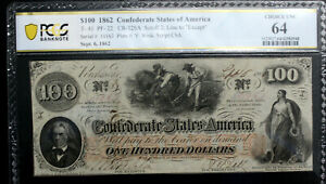 T41 $100 1862 Confederate Currency CSA PCGS 64 CHOICE UNCIRCULATED PF 22 SUPER!