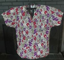Comfy Cottons Nursing Medical Scrub Top Heart Patterned Women's S