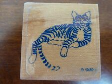 Rubber Stamp Graphistamp RARE Tiger Striped KITTY CAT Long Tail VINTAGE 1980 EUC