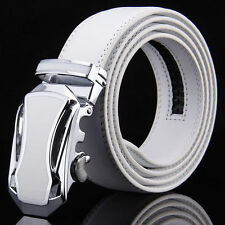 Men WHITE Genuine Leather Golf Dress Belt Fit Automatic Buckle Ratchet Belt