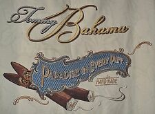 Tommy Bahama Ivory 100% Silk Cigar Embroidered Hawaiian Camp Shirt Mens Large L