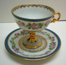 Limoges Footed Demitasse Cup and Saucer, Rehausse, Cobolt Gold & White, France