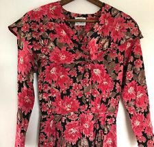 Vintage Laura Ashley Tea Dress 2 Pink Black Floral Ruffle Collar Edwardian 90s