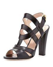 NIB Sergio Rossi Leather Black Block-Heel Sandal  Sizes IT 36  $835