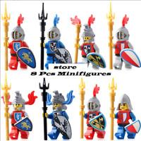 8 Pcs Medieval Castle Blue Kingdom Crown Knight Rider Solider Shield Lego MOC