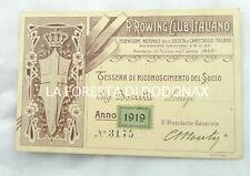 TESSERA ROWING CLUB ITALIANO CANOTTAGGIO CREMONA 1919