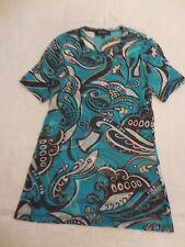 Karen Kane Knit Top Misses L Turquoise Brown White Sheer Nylon Easy Care Travel