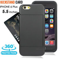 For Apple iPhone 6 6s Plus 5.5 Armor Card Slot Wallet Case Stand Cover+HD Film