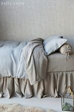 Bella Notte Haper 4 Pc Calf King Sheet Set 100% Linen Oatmeal W-Harcks Nwt