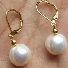 11-13mm White Baroque Pearl Earrings 18k Hook Luxury Real AAA Cultured Gift