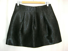 Theory Womens Liddy Mini Skirt Size 8 Black Gray Metallic Wool Linen Blend