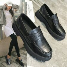 Womens British Thich Bottom Platform Loafers Shoes Retro Casual Round Toe Pumps