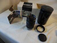 Canon Vintage FL 135 mm Auto Camera Lens 1:35  With 2 Caps & Case & Box Japan