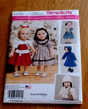 """Simplicity Pattern #1245 - Retro 50/60'S Doll Clothes 18"""" Dolls New 3 Styles &"""
