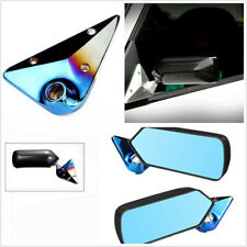 1 Pair Manual Adjustment Retro F1 Style Rear View Mirrors Carbon Fiber Look Blue