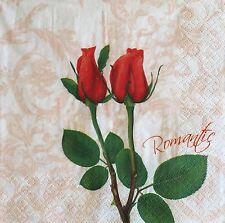 2 single paper napkins decoupage Serviette Blumen Flower Flowers Red Rose Schaby