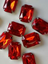 12 Pieces 18 x 13 mm Red  Acrylic Rectangle Rhinestone with Prong Setting