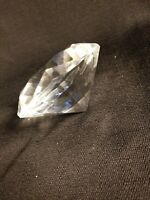 Large Crystal Clear Paperweight Cut Glass Giant Diamond Prism Decor