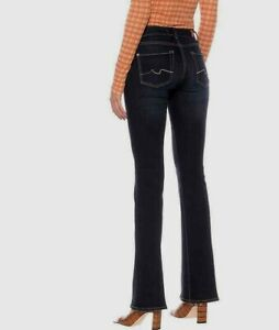 """NEW 7 for all MANKIND HIGH WAIST BOOTCUT JEANS Stretch 30  uk 12  34""""inseam BLUE"""