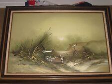 Listed Artist Original Signed John Lemon Oil On Canvas Seascape Dory Beach LARGE