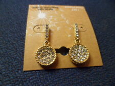 "!4KT Gold Plated Dangle Earring w/ Swarovski Crystal Approx 1"" Long (69)"
