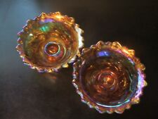 VINTAGE-IRIDESCENT-AMBER-CARNIVAL-GLASS-CANDLE-HOLDERS