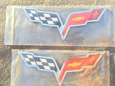 X2 PIECES ❌ Cross Flags CHEVROLET corvette CAR TRUCK EMBLEM logo DECAL SIGN new*